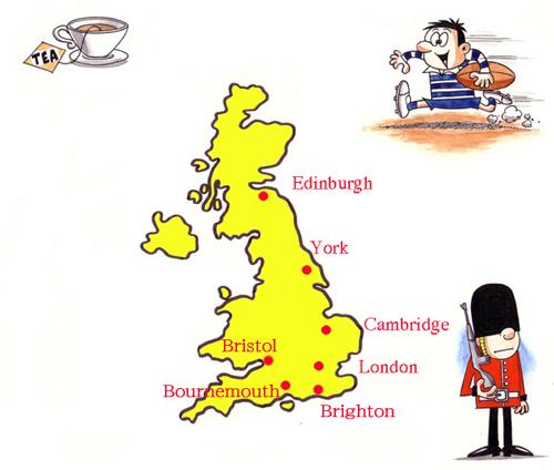 イギリス留学 イギリス語学留学 イギリス高校留学 イギリス大学院留学 留学する地域地図